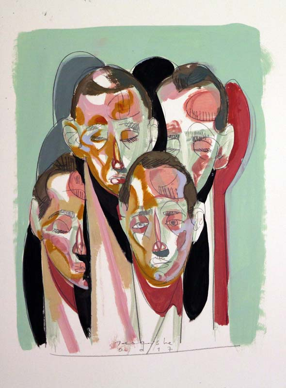 Composition with heads 8 by Tesfaye Urgessa